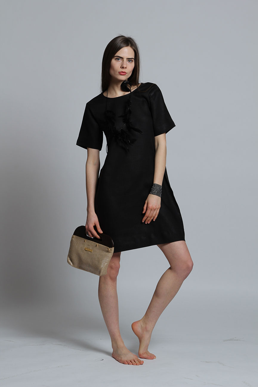 Faye black linen dress by Guru New York