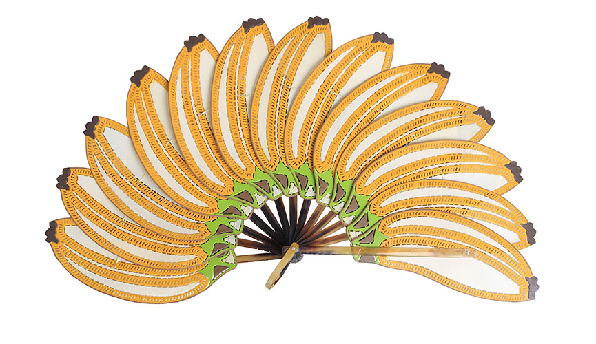 Banana fan ($120) handmade in the traditional art form of Javanese Shadow Puppet making.