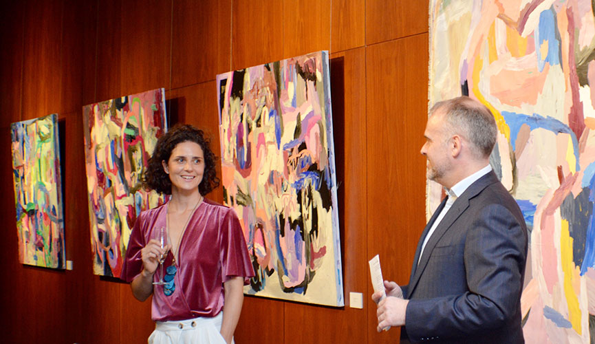 Skye at the opening of her show at The Australian High Commission.