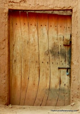 The old wooden door of the old mosque