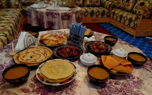 One of the l-ftor meals we enjoyed with Moroccan friends. And I must note that the harira (soup) at this one was especially delicious!