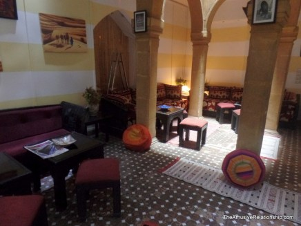 The lobby of Riad Inna