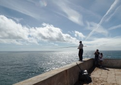Local fishing off the cliff