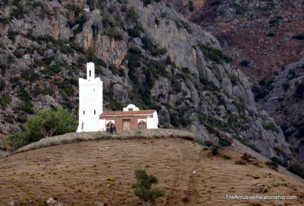 Old Spanish church on a remote hill outside of town