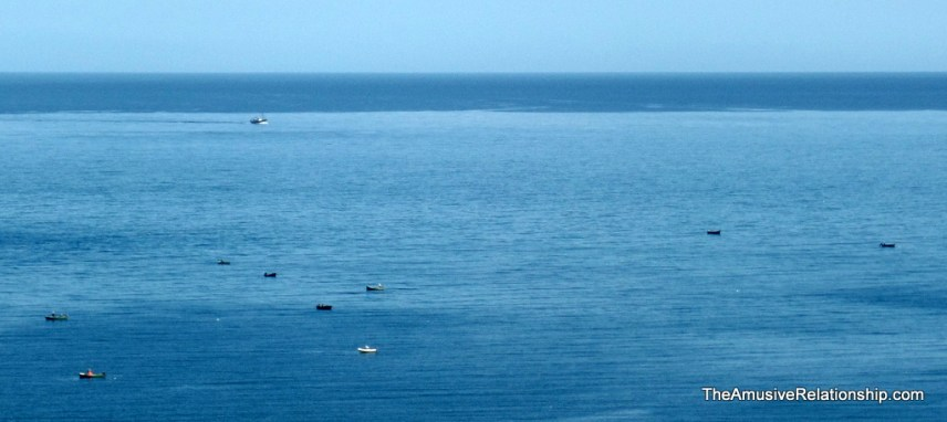 Fishermen out on the sea