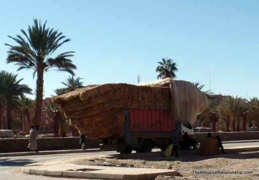 Typically overstuffed hay truck near Erfoud
