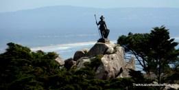 "Statue of ""The Warrior"" overlooking the water"