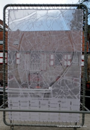 A map of Bruges done in lace