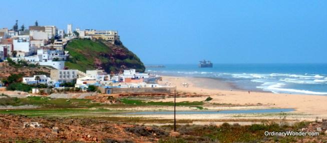 Sidi Ifni with the Spanish loading platform just offshore