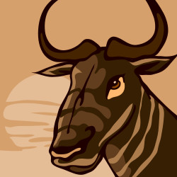 GNU with savannah background squares