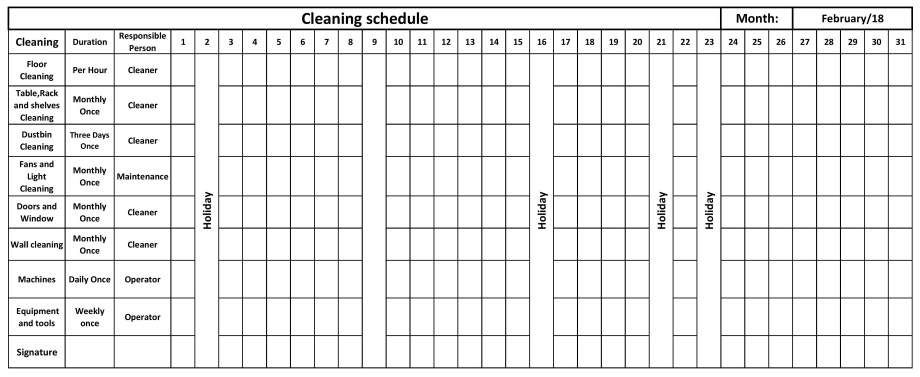 Shine-3rd S-Cleaning Schedule
