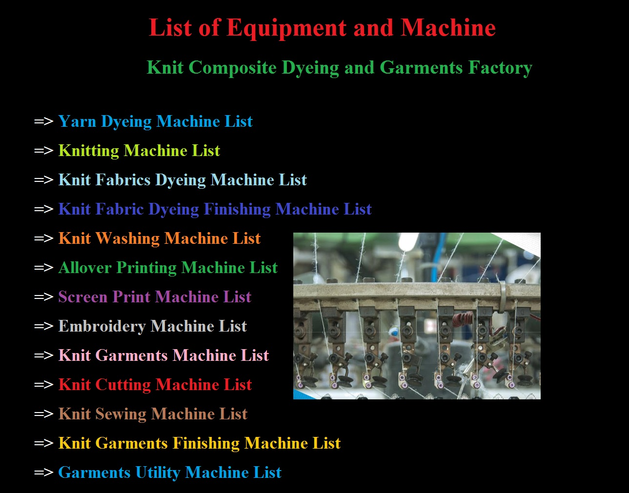 List of Machinery for Knit Composite Dyeing and Garments