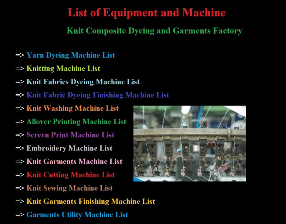 List of Machinery for Knit Composite Dyeing and Garments Factory