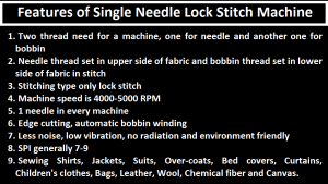 Features of Single Needle Lock Stitch Machine