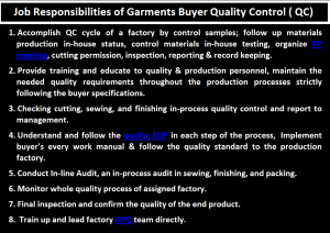 Job Responsibilities of Garments Buyer QC Quality Control