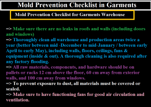 Mold Prevention Checklist in Garments