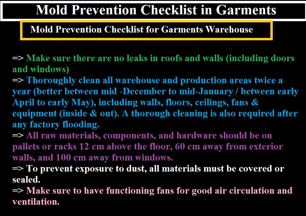 Mold Prevention Checklist In Garments Ordnur Textile And