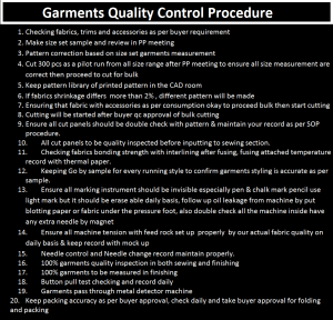Garments Quality Control Procedure