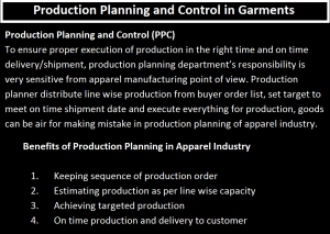 Production Planning and Control in Garments