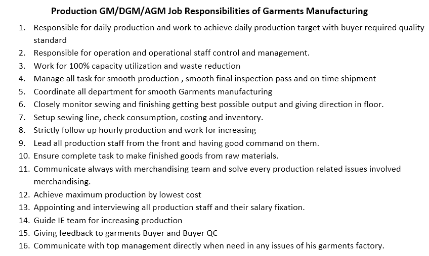 Operation/Production AGM/DGM/GM in Apparel Industry