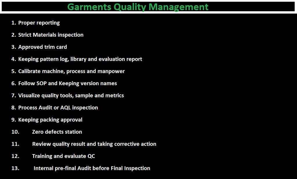 garment quality control procedures pdf