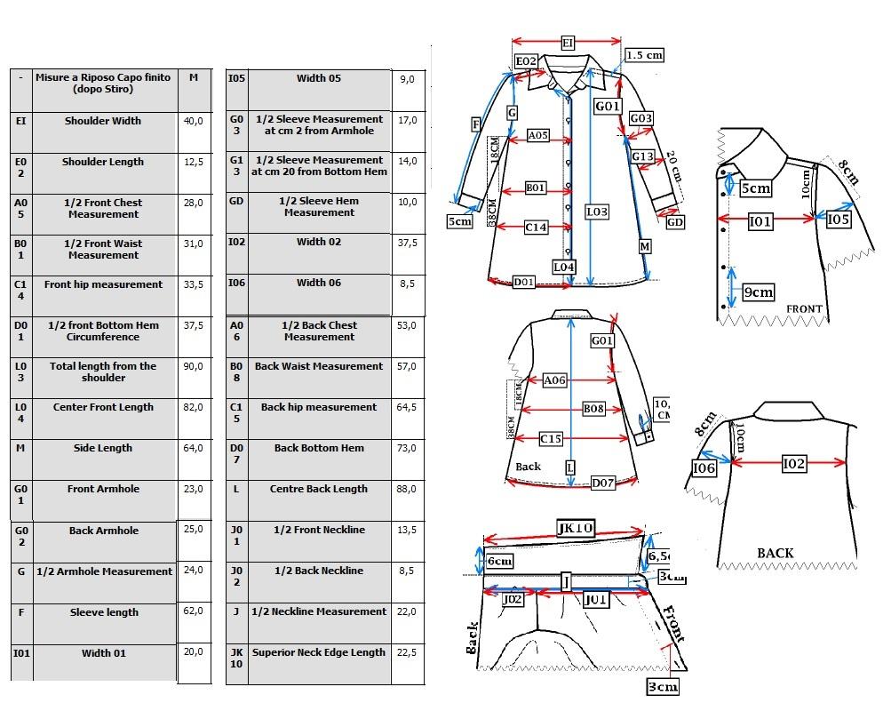 Measurement Sheet of Shirt Manufacturing