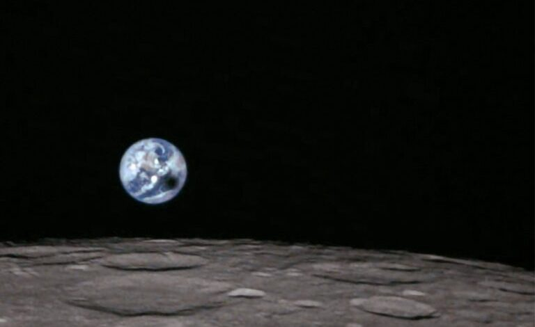 total solar eclipse from the orbit of the moon