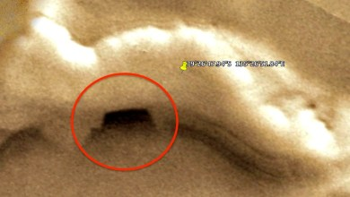 "Photo of ""Mars base entry"" found on Google Mars map service"
