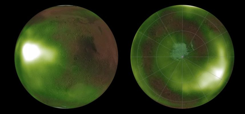 Astronomers observe the glow in the Martian atmosphere