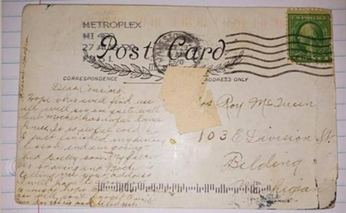 American woman received a postcard sent 100 years ago