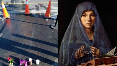 Photo of The image of the Virgin Mary, drawn in chalk 13 years ago, appeared on the asphalt