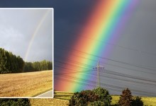 The man showed in the photo what the beginning of the rainbow looks like