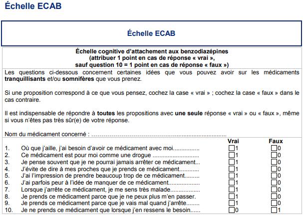benzodiazépine échelle ecab