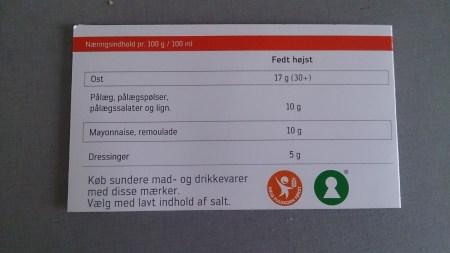 Indkøbskortet for diabetikere til ost... (den sværeste for mig)