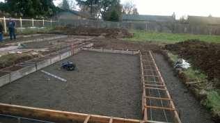 Foundation framing for the garage