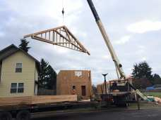 Being lifted onto the house