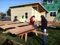 Staining the cedar siding