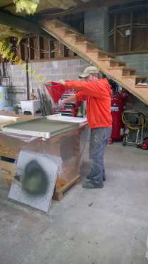 Creating the concrete countertops
