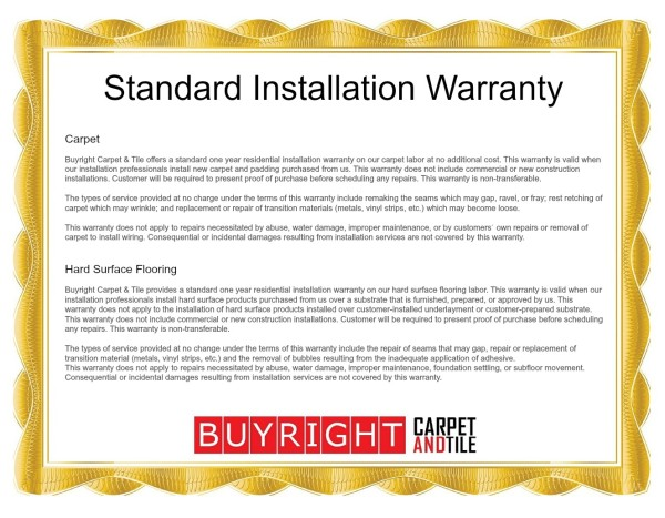 Standard Installation Warranty  Oregon City Carpet