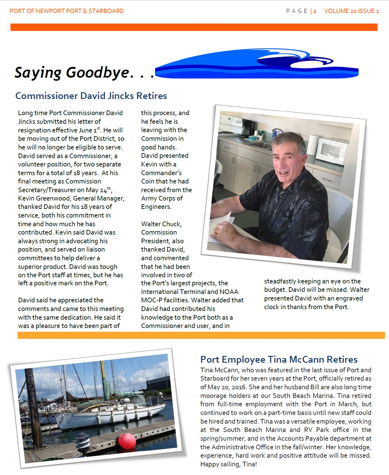 Jun2016 - Port of Newport - Port & Starboard Newsletter Volume 20 Issue 2 online edition 2