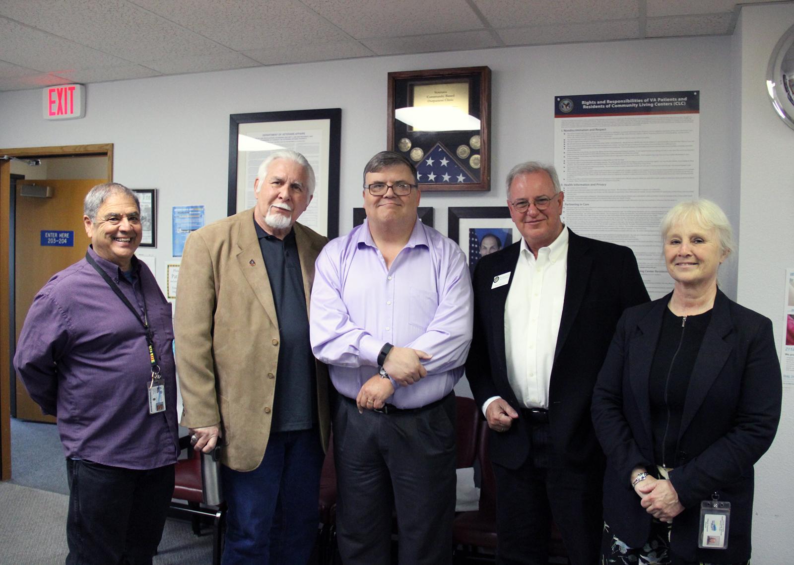 Tony Molina, John Reed, Bill Hall, David Gomberg, Cheryl Connell Flag Display Veterans VA Outreach Clinics Lincoln County