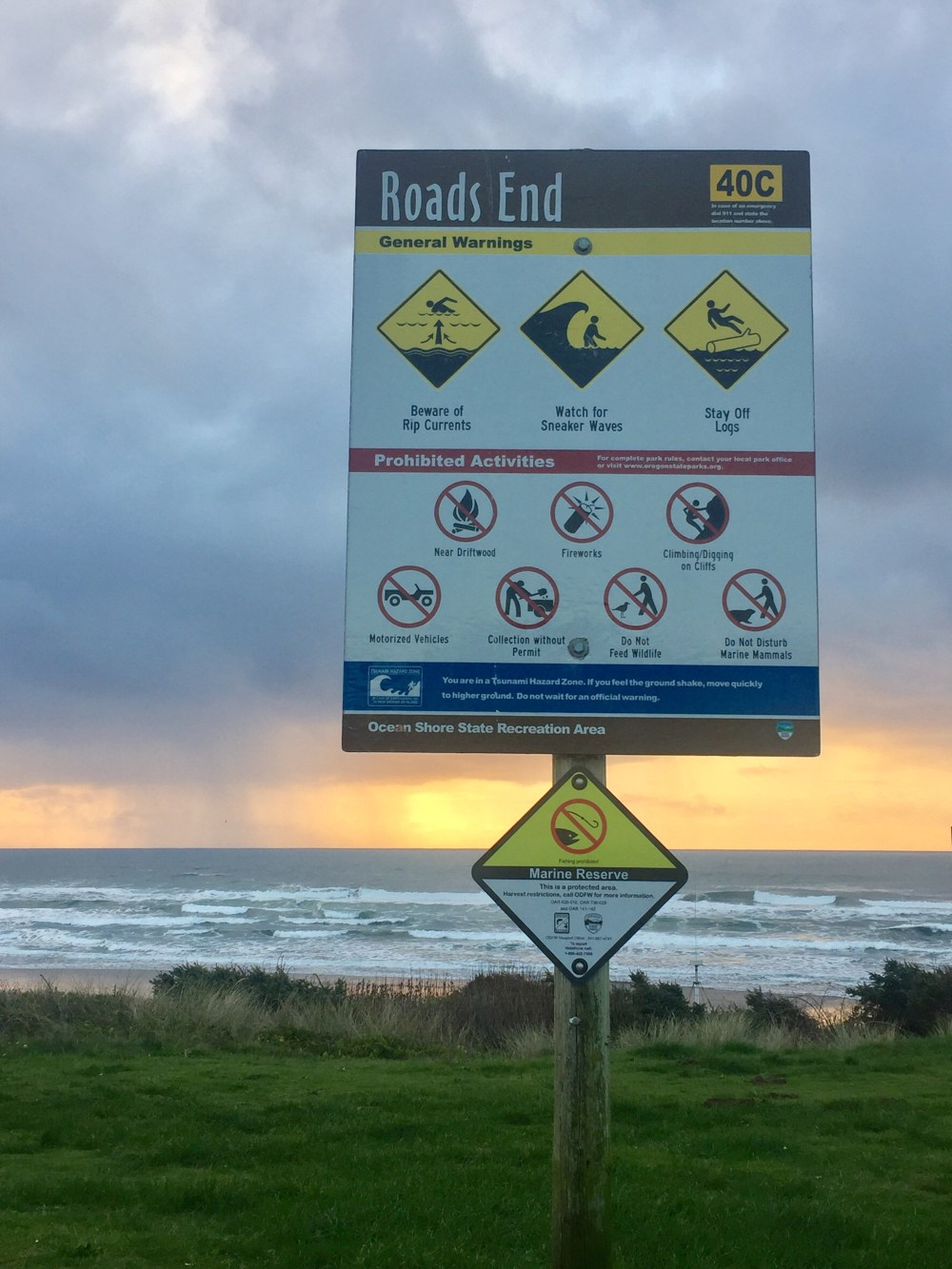 Sign at Roads End, Lincoln City