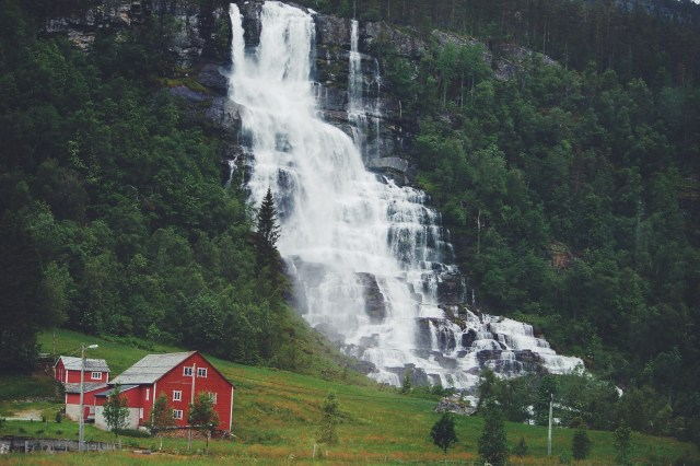 Waterfall on the way to Voss, Norway