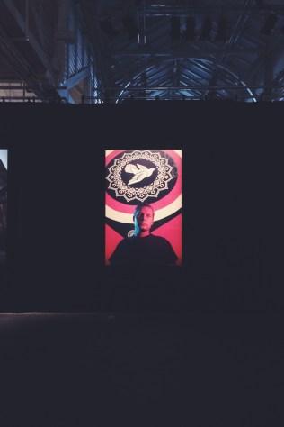 Søren Solkær's portrait of Shepard Fairey at SURFACE Exhibition at Oksnehallen, Copenhagen