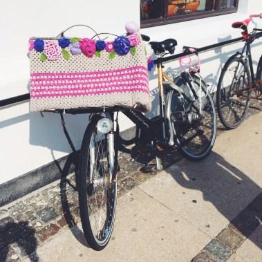 Yarn bombed bikes