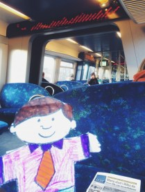Flat Stanley Rides a train Copenhagen Denmark