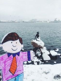 Flat Stanley visits Little Mermaid Copenhagen Denmark
