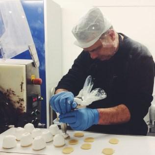 Piping the cream for flødebøller at Tivoli