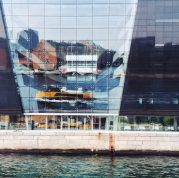 Copenhagen Harbor Bus in front of the Black Diamond