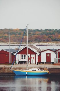 Swedish seaside town in southern Sweden in fall's colors